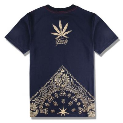 Marijuana Bandana Print T Shirt Black and Gold West Coast