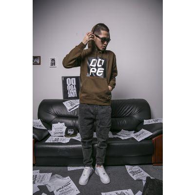 Dope Hoodie Sweatshirt with Black Square Design for Men - Brown