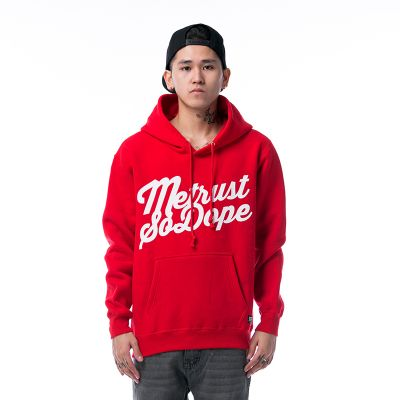Hoodie Sweatshirt with Metrust So Dope Script Design - Red