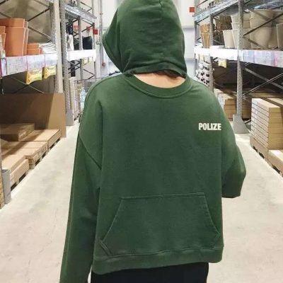Women's reverse hooded sweatshirt with ventral back pocket