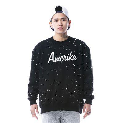 Paint Speckled Black Crewneck Amerika Sweater for Men