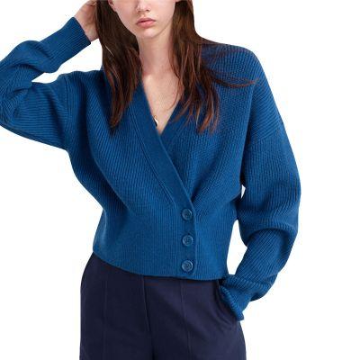 Sweater cardigan in blue for women