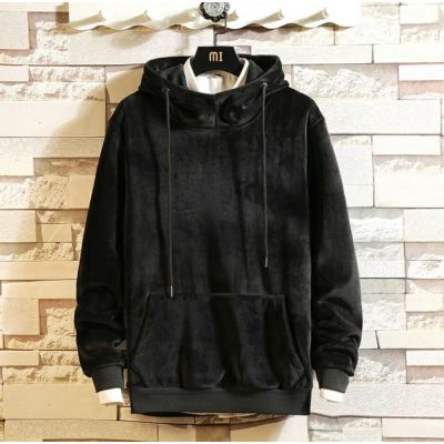 Grey velours hoodie sweatshirt velvet jumper for men