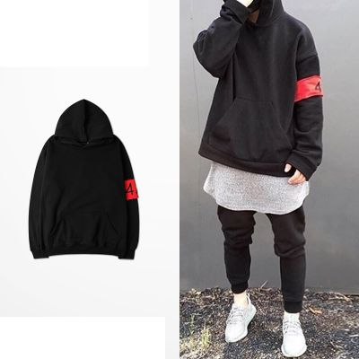 Oversized Men's Hooded Sweatshirt with Red Stripes 424