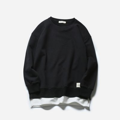 Crewneck sweater for men with white t-shirt extension on bottom