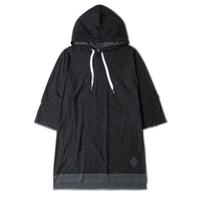Short Sleeve Hoodie T-shirt for Men with Speckled Paint Print