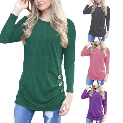 Long sleeve t-shirt for women with large wooden side buttons