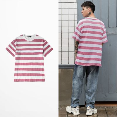 T-shirt with faded pink and white stripes for men or women unisex