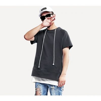 Hoody Style t-shirt with Front Pocket and Collar line