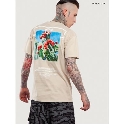 Cactus Inflation T-shirt for Men Beige or Black