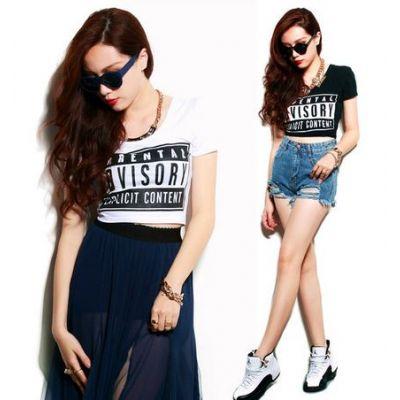Parental Advisory Explicit Content Swag Crop Top T shirt for Women