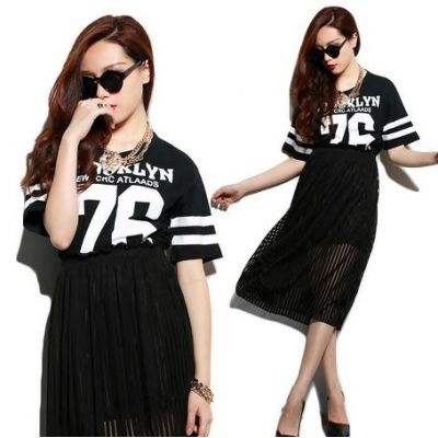 Crop Top Summer T shirt for Women with 76 New York Print