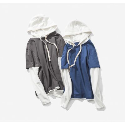 Long sleeve hoodie t-shirt for men with hood double layer