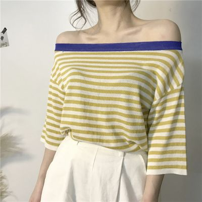 Off the shoulder mid-sleeves t-shirt with stripes for women