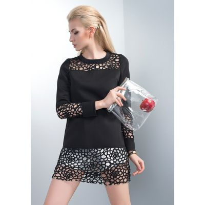 Women's Transparent Collar and Sleeves T-shirt with Perforations Design
