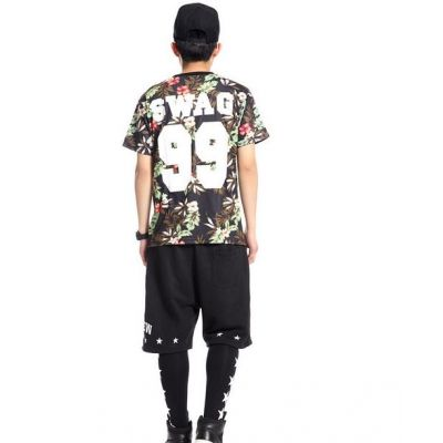 Flower Print Swag T shirt Number 99 for Men Women Streetwear