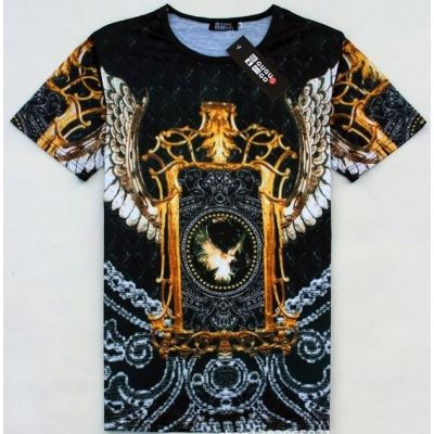 Eagle Chains Black and White Gold Links T Shirt Streetwear