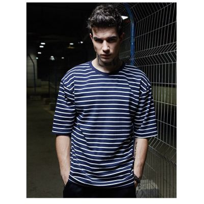 Men's large White and Navy Blue Striped T-shirt