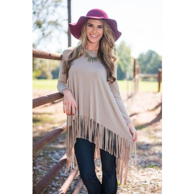 Long sleeve t-shirt for women with Fringe side