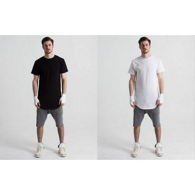 Long T-shirt for Men Oversized Short Sleeves Round Collar