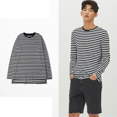 Men's Oversize Long Sleeve T-Shirt for Men black and white stripes