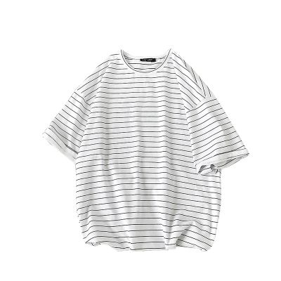 Oversized T-Shirt with horizontal blue and white stripes for men or women