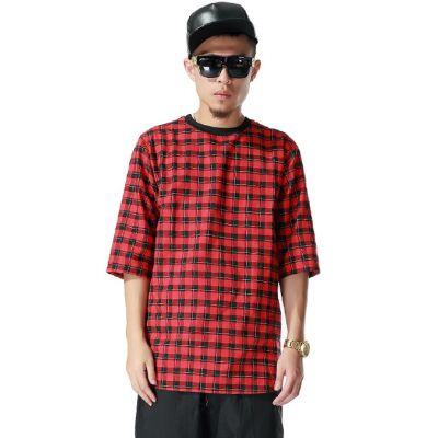 Oversize Plaid Red and Black Checkered T shirt with Back Zip