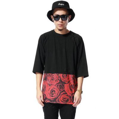 Oversize T Shirt Swag Roses Flower Print on Lower Half
