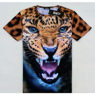 3D Leopard Head T Shirt Animal Photography Print
