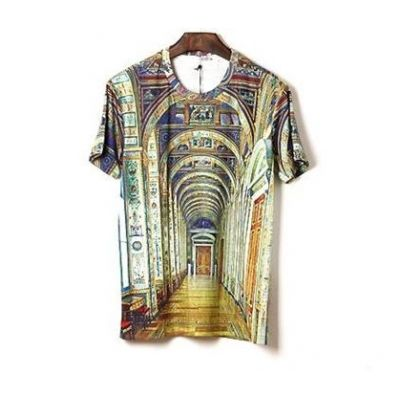 Stretch Slim Fit T shirt for Men with Golden Arches Cathedral Print
