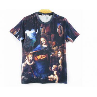 Virgin of the Rocks Da Vinci T shirt Stretch Slim Fit for Men