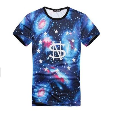 Cosmic Galaxy Print T shirt with 01 on back Stars Circle Front