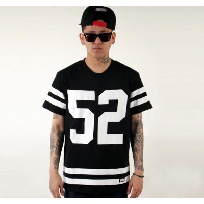 American Football T shirt Sports #52 White Stripes - Black