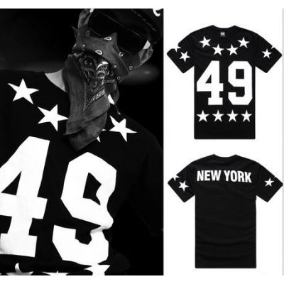 49 New York T Shirt Hip Hop Black and White with Star Print