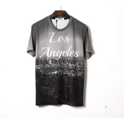 Stretch Slim fit T shirt for Men with Los Angeles Skyline Black White