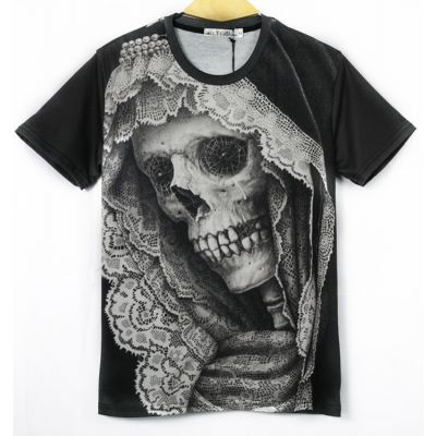 Stretch T-shirt with Santa Muerte Skeleton Head Mexico Cartel - Slim Fit