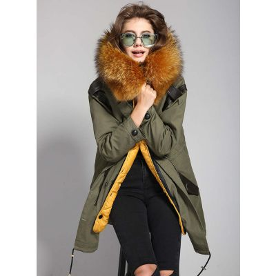Trench coat woman fur hood with leather details