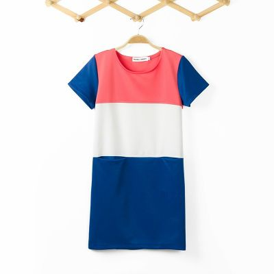 Tricolor Color Conflict Fashion Dress for Women Blue Pink White