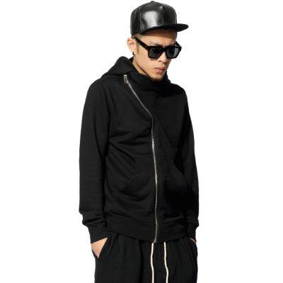 Zip up Hoodie with Offset Zipper for Men - Black