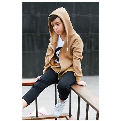 Zip up hoodie for boys in sand brown