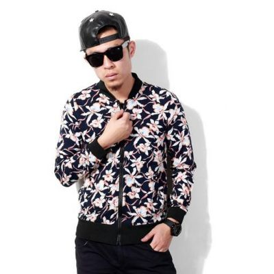 Flower Print Zip Up Sweater for Men - Black