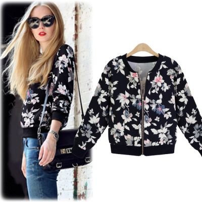 Flower Print Zip up Jumper for Women with Black and White Flowers