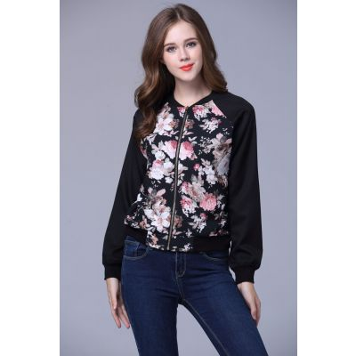 Flower print baseball jacket for women Roses
