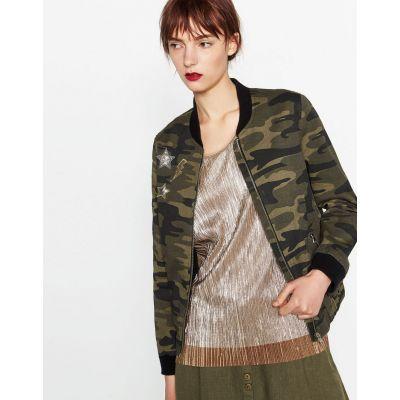 Women's Baseball Jacket with Camouflage Pattern