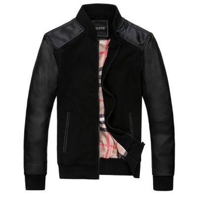 Cotton Zip up Vest with Leather Sleeves for Men