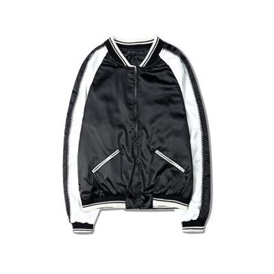 Lightweight Sports Jacket in Black and White Satin for Men