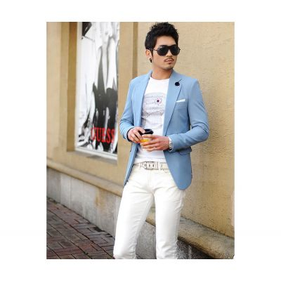 Sky Blue Blazer for Men 1 Button Suit Jacket