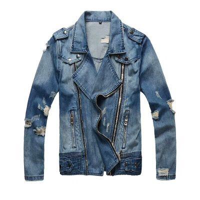Blue jeans jacket biker perfecto cut