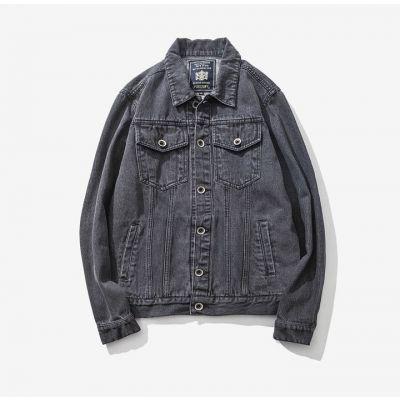 Washed out vintage grey denim jacket for men with front pockets