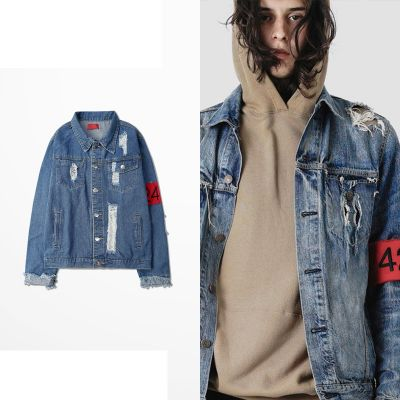 Distressed Denim Jacket for Men or Women with Red Sleeve band